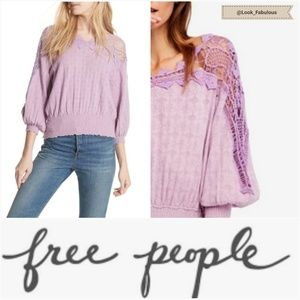 NWT FREE PEOPLE PURPLE LACE TOP